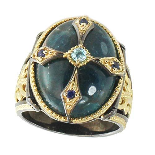 Michael Valitutti Palladium Silver Blue Apatite Zircon & Sapphire Cross Ring