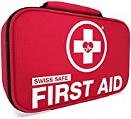 Swiss Safe 2-in-1 First Aid Kit (120 Piece) + Bonus 32-Piece Mini First Aid Kit: Compact, Lightweight for Emer