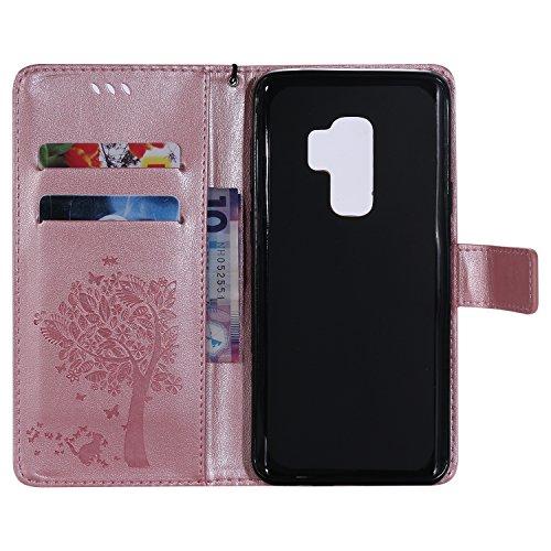 Samsung Galaxy A8(2018) Flip Cuero Funda - Alta Calidad Cuero de la PU /Stent/Billetera/Paquete de Tarjetas/Proteccion Caso Cubrir para Samsung Galaxy A8(2018)(Rosa) Oro Rosa