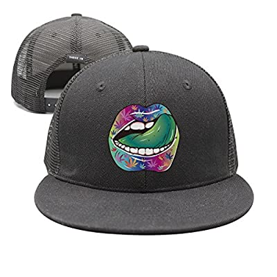 Nathat Childr Adjustable Snapback Mesh Cap Hat Sexy Lip Weed Leaf Tongue Flat Bill Brim Baseball Cap