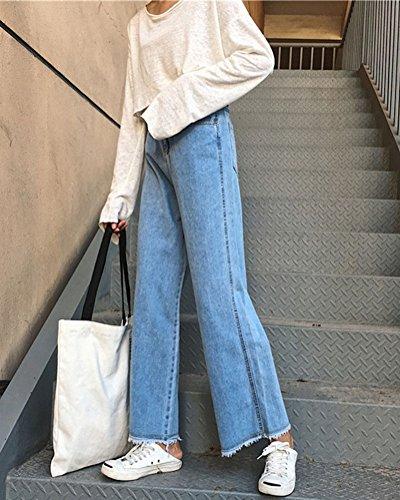 Casual Talle De Vaqueros Pantalones Para Mujer Alto Ocio Pantalones Largos Jeans Azul Pernera Estilo Ancha gH1x48w