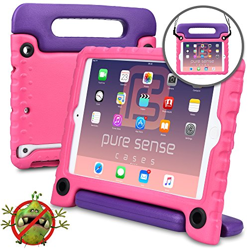 Pure Sense Buddy [Anti-Microbial Kids Case] Child Proof case for iPad Mini 3, iPad Mini 2, iPad Mini 1   Rugged Cover, Stand, Handle, Shoulder Strap (Pink)