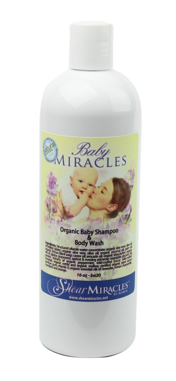 Baby Miracles Organic Baby Shampoo & Body Wash - No Harsh Chemicals - Vegan, Gluten Free, GMO Free, No Animal Testing. by Shear Miracle Organics