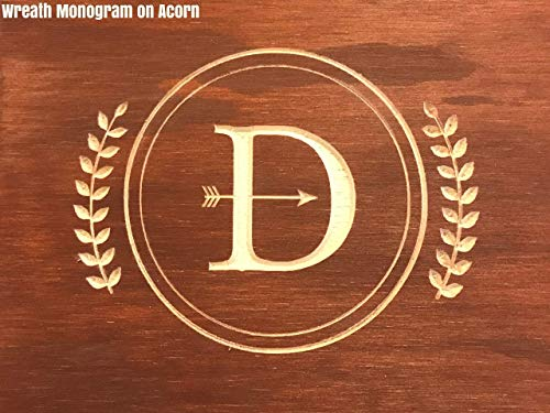 (Engraved/Carved Monogram Wreath Noodle Board/Serving Tray)