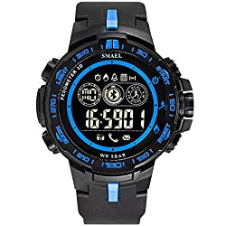 WoCoo Bluetooth Sport Waterproof Smartwatch with Remote Camera Call Reminder Digital Wristwatch Compatible with iOS Android(Blue)
