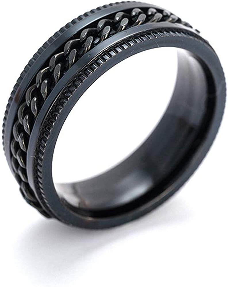 bague en acier inoxydable estamp/ée pour hommes Utile et Pratique 1 bague PCS unisexe en titane noir cadeaux pour hommes et femmes 7