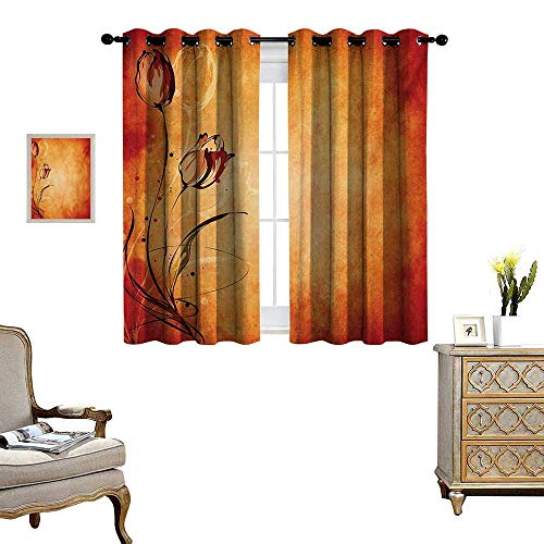 WinfreyDecor Antique Thermal Insulating Blackout Curtain Vintage Aged Background with The Silhouette of Rose Bloom Digital Image Patterned Drape for Glass Door W55 x L39 Orange Mustard Maroon