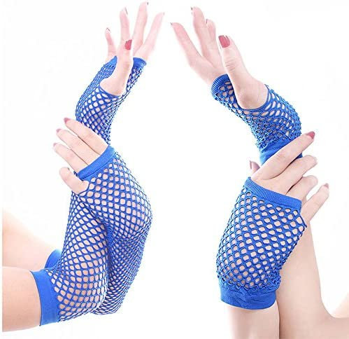 Bright Elbow Length Fingerless Fishnet Rave Party Clubbing Gloves Neon Yellow