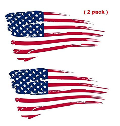 American flag tattered. Shawn box ripped distressed