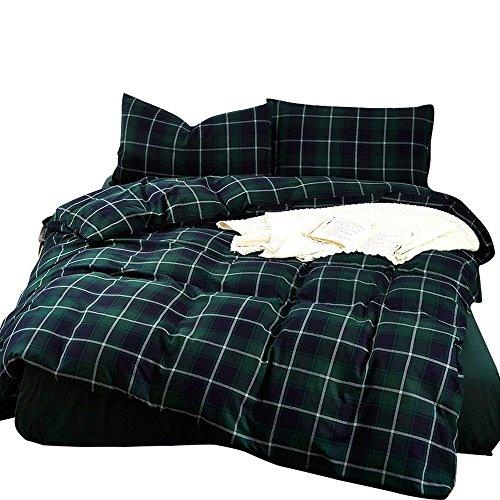 (karever Men Hunter Green Plaid Duvet Cover Set Queen Size Bedding Sets Luxury 3 Piece Green Grid Printed Pattern Soft Lightweight Boys Duvet Cover Queen Women)