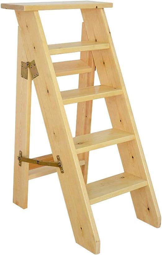 Escaleras Escalerillas Escaleras de Tijera de Madera de 5 Pasos livianas y Plegables Escalera de Tijera Multiusos Escalera Plegable de Estante Silla - Capacidad de 300 LB: Amazon.es: Hogar