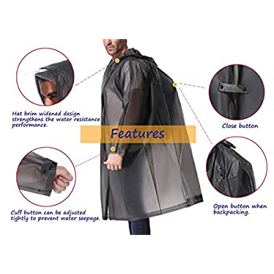 EnergeticSky Multifunctional Rain Poncho,EVA Portable Raincoat with Hoods and Sleeves,No Chemical Smell,Reusable & Thicken and Perfect for Hiking,Disneyland,or Camping.(Multi-Size): Clothing