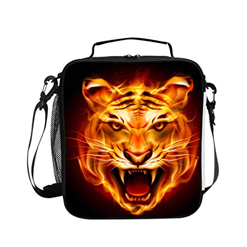 Premium Insulated Lunch Bag with Shoulder Strap   Tiger Head Lunch Box for Adults, Kids  Lunch Cooler for Office, School