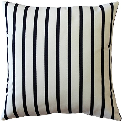PILLOW DÉCOR Sunbrella Lido Indigo Stripes 20x20 Outdoor Pillow ()