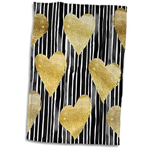ugh - Patterns - Black and White Hand Painted Stripes with Gold Hearts Pattern - 15x22 Hand Towel (TWL_252985_1) ()