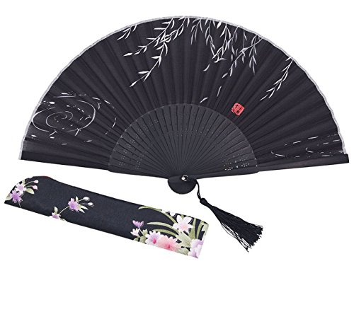 [Meifan Chinese Vintage Retro Style Handheld Folding Fan (Black-A)] (Mini Black And White Spanish Hat)