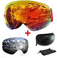 Extra Mile Ski Goggles, Anti-Fog UV Protection Winter Snow Sports Snowboard Goggles with Interchangeable Spher