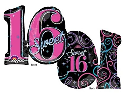 Amazon LoonBalloon SWEET 16 Sixteen 16th Black Pink Silver 26