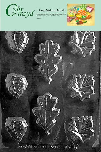 Asst Hard Candy Mold (Cybrtrayd Leaf Soap Assorted Soap Mold with Exclusive Cybrtrayd Copyrighted Soap Molding Instructions)