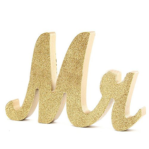 sexyrobot Gold Mr & Mrs Signs Wooden Freestanding Letters for Wedding Decoration Wedding Present