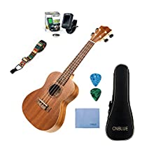 Mahogany Ukulele Starter Kits for Beginner with Tuner, Strap, Padded Bag, Strings, Wipe, Picks