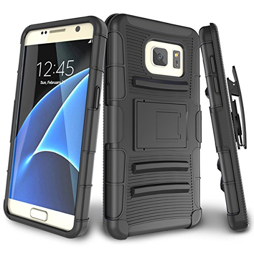 Samsung Galaxy S7 Case,TILL [Knight Armor] Heavy Duty Full-Body Rugged Holster Resilient Armor Case [Belt Swivel Clip][Kickstand] Combo Cover Shell for Samsung Galaxy S7 S VII G930 GS7 [Black]