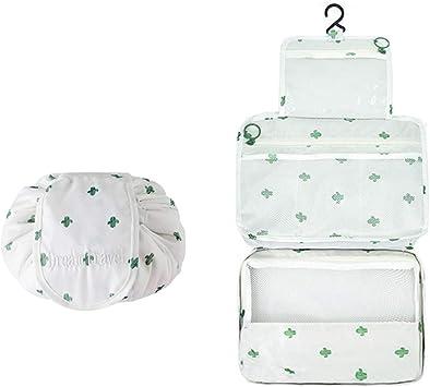 Bolsa de Cosméticos - Slopow 2 Pack Neceser de Maquillaje Bolsa de Almacenamiento Bolsa Portátil de Lavado de Viaje Bolsa Maquillaje Gran Capacidad Bolsa de Aseo con Gancho para Mujer - Cactus: