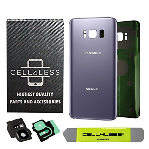 CELL4LESS Replacement Back Glass Cover Back Battery Door w/Custom Removal Tool & Pre-Installed Adhesive for Samsung Galaxy S8 Plus OEM - All Models G955-2 Logo - OEM Replacement (Orchid Grey)