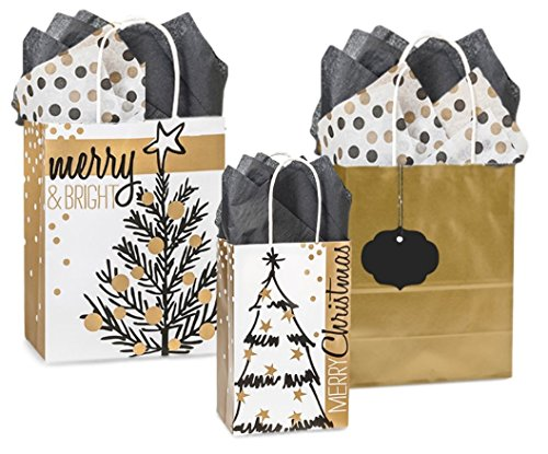 Holiday Gift Bag Set Set of 6 Gift Bags with Tissue Paper