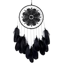 Ricdecor Dream Catcher Handmade Traditional White Feather Dream Catcher Wall Hanging car Hanging Decoration Ornament (Black Mandala)