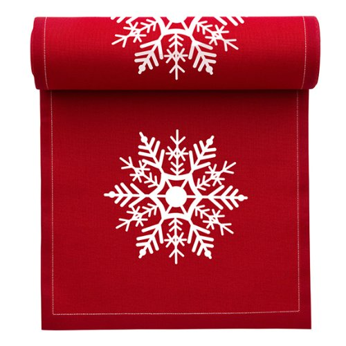 MYdrap SA11N1/701-2 Holiday Printed Cocktail Napkin, 4.5'' Length x 4.5'' Width, Red with White Snowflake (10 Rolls of 50) by MYdrap