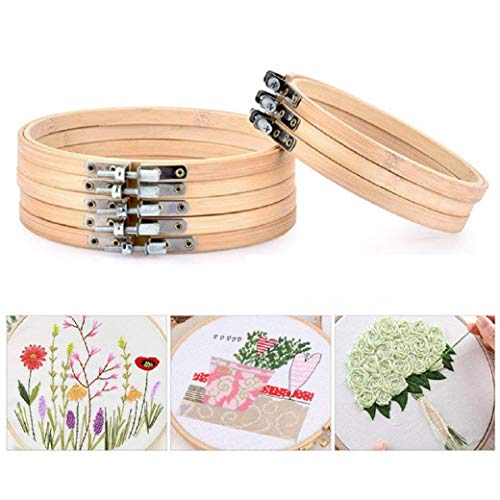 Help Keeping Fabric in Place and Better Tension 10 Pcs 5 Inch Embroidery Hoops Adjustable Bamboo Circle Cross Stitch Frames