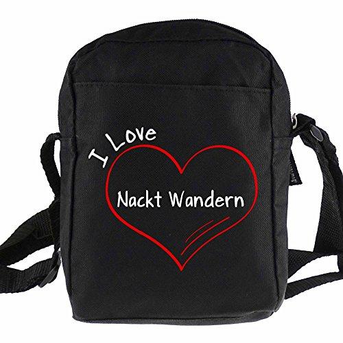 Umhängetasche Modern I Love Nackt Wandern schwarz