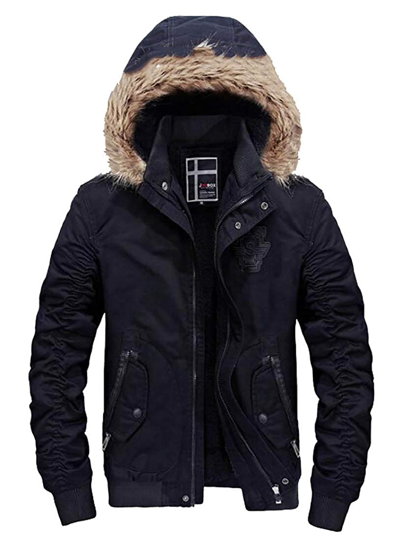 X-Future Mens Winter Faux Fur Hooded Linen Fleece Stand Collar Down Jacket Coat