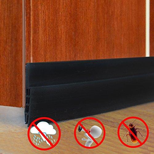 Under Door Sweep - Weather Stripping for Doors Draft Stopper Self Adhesive Bottom Seal Strip (Black 1.57