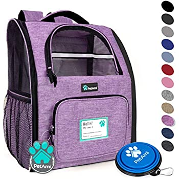 PetAmi Deluxe Pet Carrier Backpack for Small Cats and Dogs, Puppies | Ventilated Design, Two-Sided Entry, Safety Features and Cushion Back Support | for Travel, Hiking, Outdoor Use (Heather Purple)