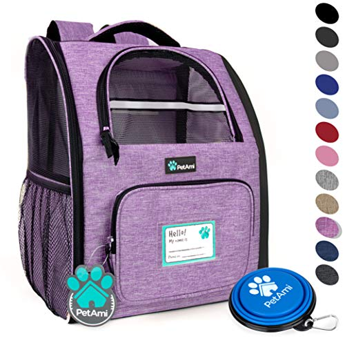 - PetAmi Deluxe Pet Carrier Backpack for Small Cats and Dogs, Puppies | Ventilated Design, Two-Sided Entry, Safety Features and Cushion Back Support | for Travel, Hiking, Outdoor Use (Heather Purple)