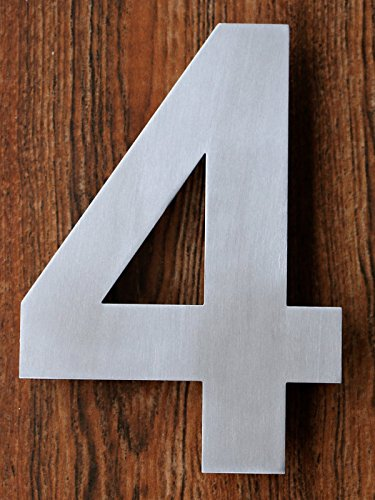 QT Modern House Numbers - 6 Inch Brushed Stainless Steel Number 4 Four Floating Appearance Easy to install and made of solid 304 stainless steel