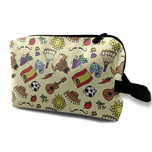 WXZDH Skincare Portable Doodles Symbols Pattern of Spain Makeup Bag Travel Purse with Zipper for Women Skincare Cosmetic Pouch