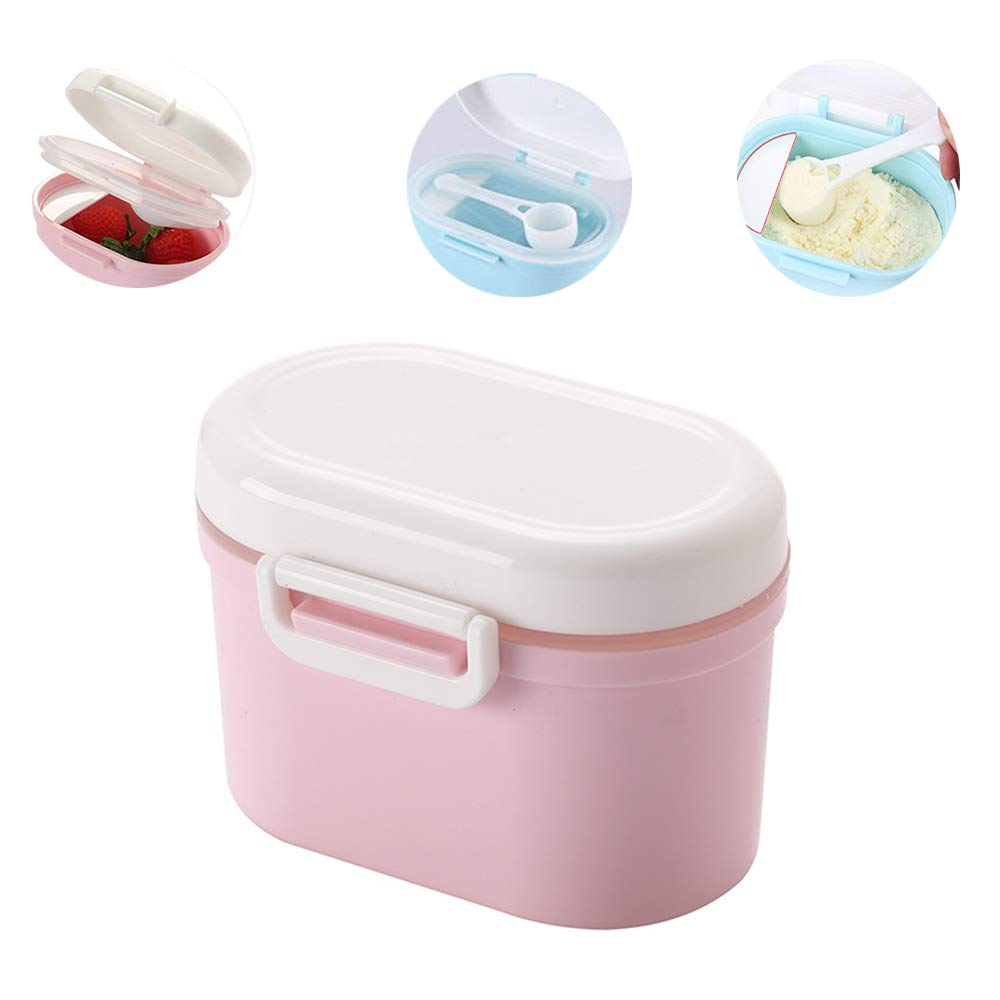 Travel Baby Milk Powder Storage Box with Spoon, YEEHO Portable Infant Formula Dispenser with Scoop Airtight BPA Free Small Container Case Easy go Parents Choice Sealed Flour Case for Kids,Blue