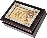 Confirmation Cottage Garden Italian Style Burlwood Finish with Decorative Inlay Jewelry Music Box - Plays Song Ave Maria