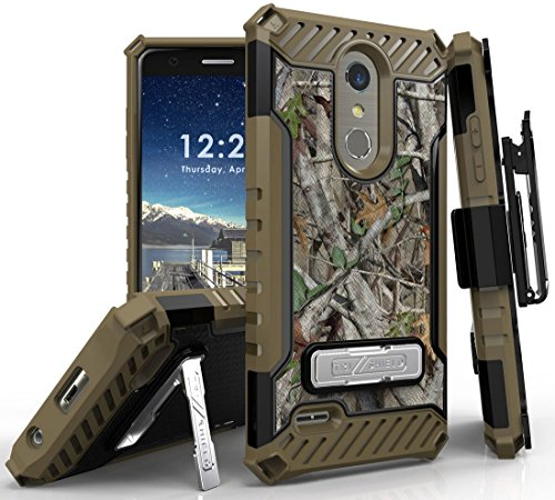 (Autumn Camo Tree Leaf Real Woods Case Camouflage Cover and Belt Clip Holster [Metal Kickstand + Strap Lanyard] for LG K30, Premier Pro, K10 (2018), Phoenix Plus, Harmony 2 (X410, L413DL))