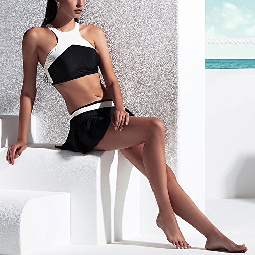 AdoreShe Women's Skirted Swim Dress Swimsuits, Cute Black and White High Neck Bikini Top & Bathing Suits with Ruffle Skirts Bottom (Bottom,A18017,M