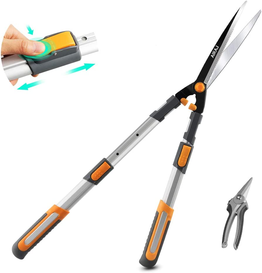 AIRAJ Hedge Shears with Serrated SK-5 Steel Blade and Strong Aluminum Handles, Manual Hedge Clippers & Garden Hand Pruner for Trimming Borders, Topiaries Boxwood, and Decorative Grasses