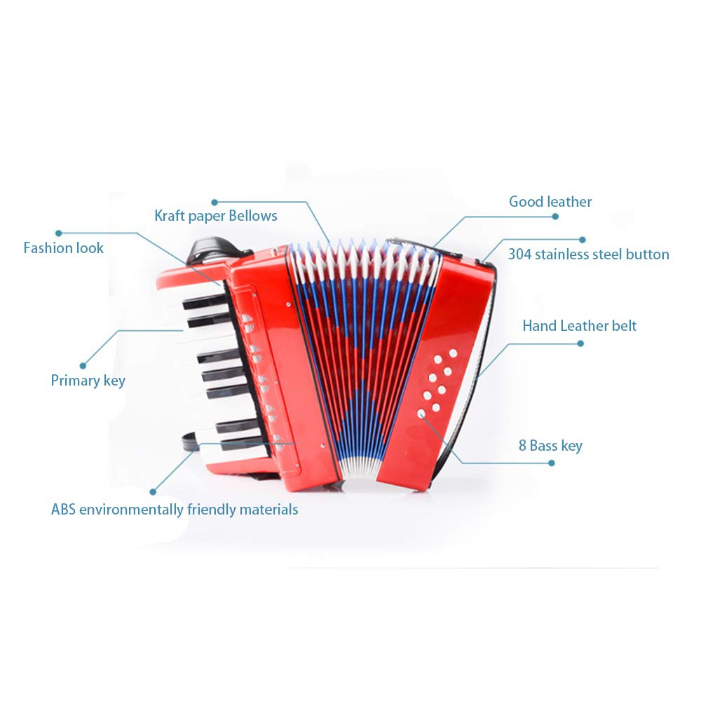 TECHLINK Accordions Toy Childern Musical Instrument Musical Accordion Portable 17 Keys 8 Bass Promotes Education Children's Gift by TECHLINK (Image #3)