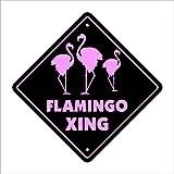 "Flamingo Crossing Sign Zone Xing | Indoor/Outdoor | 12"" Tall flamingos bird collector Florida pink birds lover"