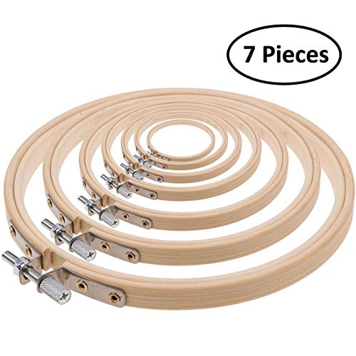 iRookie 7pc Bamboo Round Embroidery Hoops Frames - Wooden Circle Cross Stitch Hoop Ring - DIY Art Craft Handy Needlepoint Sewing Hoops - Stitching Knitting Tool Supplies - Needlework Quilting Loops