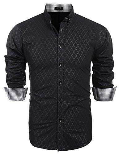 Coofandy Men's Business Stylish Slim Fit Long Sleeve Casual Dress Shirt,Black,Small