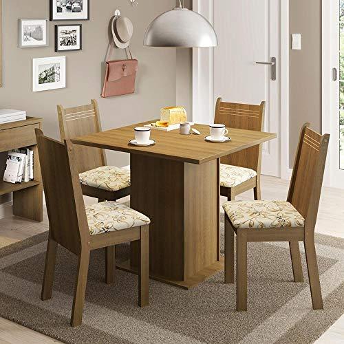 Conjunto Sala de Jantar Mesa e 4 Cadeiras Kate Madesa Rustic/Lirio Bege