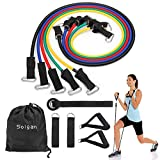 Cheap Solgan Resistance Band Set, Workout Bands Include 5 Levels Exercise Bands, with Door Anchor, Foam Handles, Ankle Straps and Carrying Bag, for Resistance Training, Physical Therapy, Home Workouts